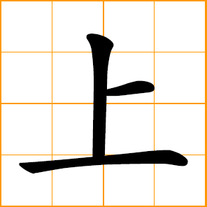 Chinese symbol - top, up, upper, summit on, to go