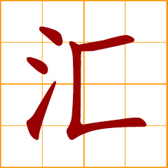 simplified Chinese symbol: flow into, to converge, come together, things collected, assemblage, collection, remit money