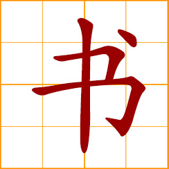 simplified Chinese symbol: book; document, letter; to write; style of calligraphy