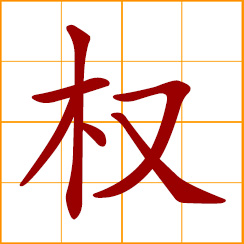 simplified Chinese symbol: power, authority, rights