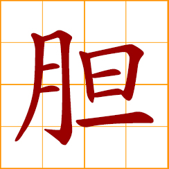 simplified Chinese symbol: gallbladder; bravery, courage, gut