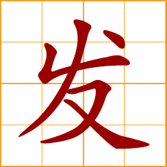 simplified Chinese symbol: to prosper, become rich; to issue, give forth, send out; begin, start, initiate; occur, happen, take place