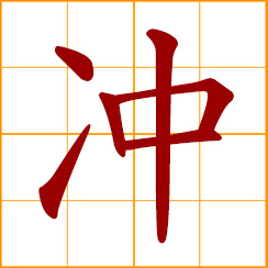simplified Chinese symbol: to rush, thrust; to dash, charge, forge ahead